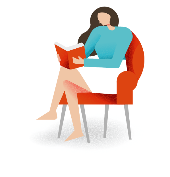 Illustration of woman sitting in a chair reading a book